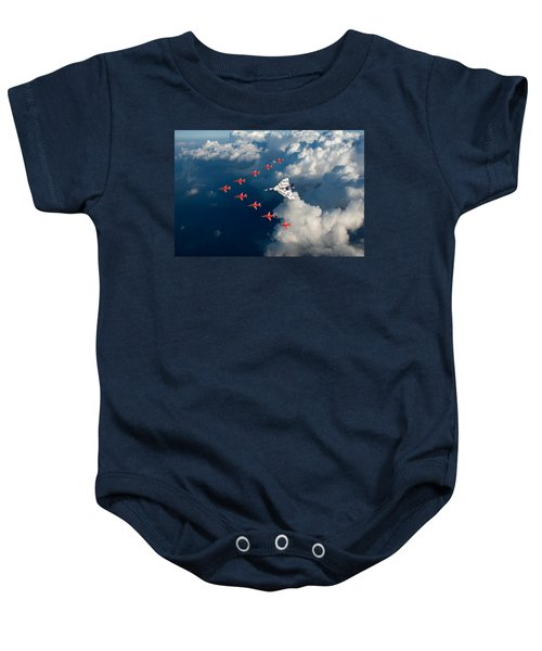 Red Arrows And Vulcan Above Clouds Baby Onesie
