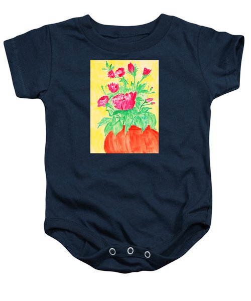 Red Flowers In A Brown Vase Baby Onesie by Jose Rojas