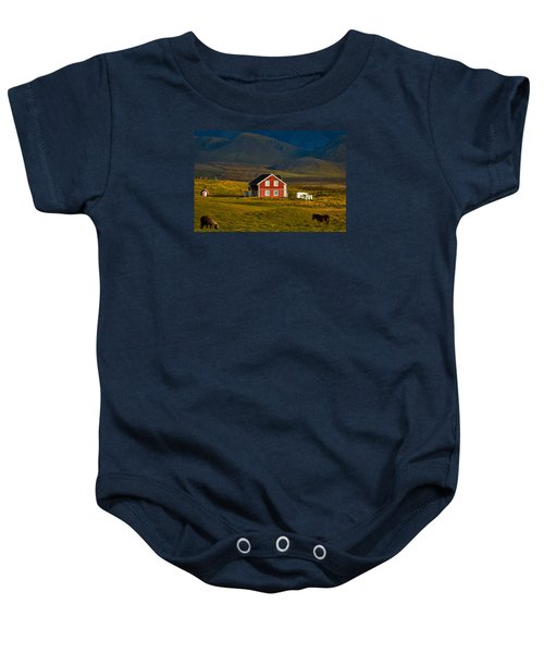 Red House And Horses - Iceland Baby Onesie