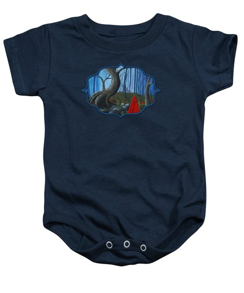Baby Onesie featuring the painting Red Riding Hood In The Forest by Anastasiya Malakhova