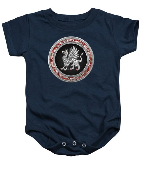Sacred Silver Griffin On Blue Leather Baby Onesie