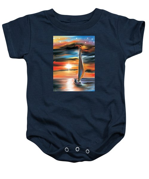 Sailboat And Sunset Baby Onesie