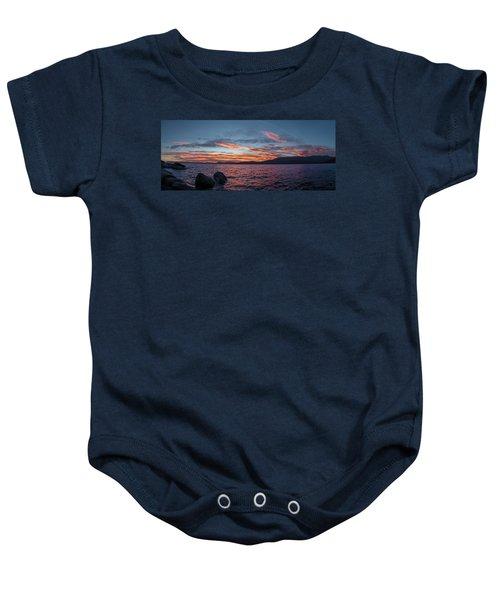 Sand Harbor Sunset Pano2 Baby Onesie
