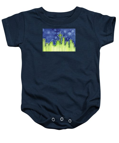 Seattle Night Sky Watercolor Baby Onesie by Olga Shvartsur