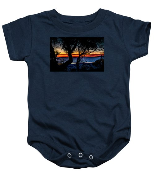 Silhouettes Over Blue Water Baby Onesie