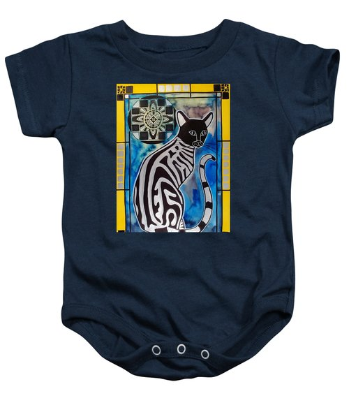 Baby Onesie featuring the painting Silver Tabby With Mandala - Cat Art By Dora Hathazi Mendes by Dora Hathazi Mendes