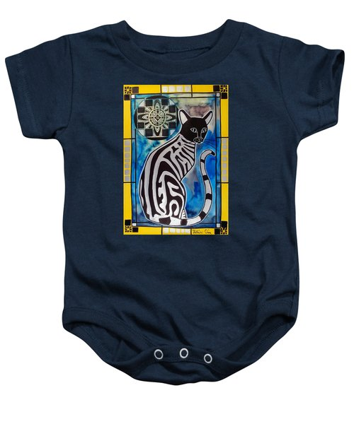 Silver Tabby With Mandala - Cat Art By Dora Hathazi Mendes Baby Onesie