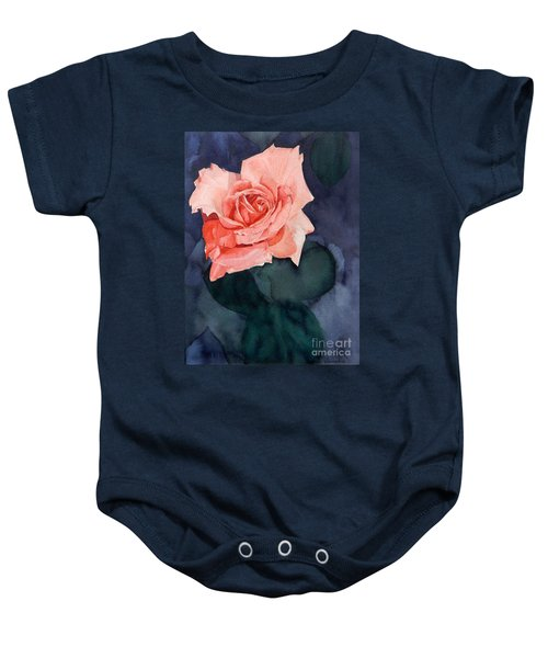 Watercolor Of A Magic Bright Single Red Rose Baby Onesie