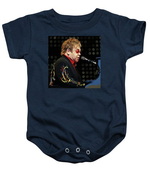 Sir Elton John At The Piano Baby Onesie