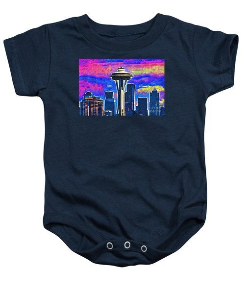 Space Needle Colorful Sky Baby Onesie