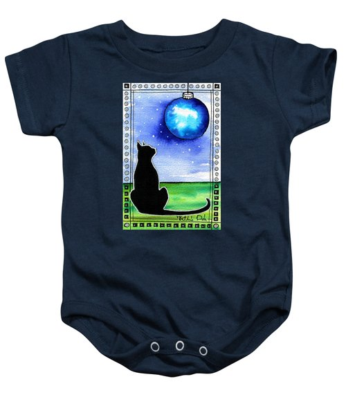 Sparkling Blue Bauble - Christmas Cat Baby Onesie