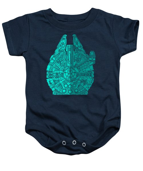 Star Wars Art - Millennium Falcon - Blue 02 Baby Onesie