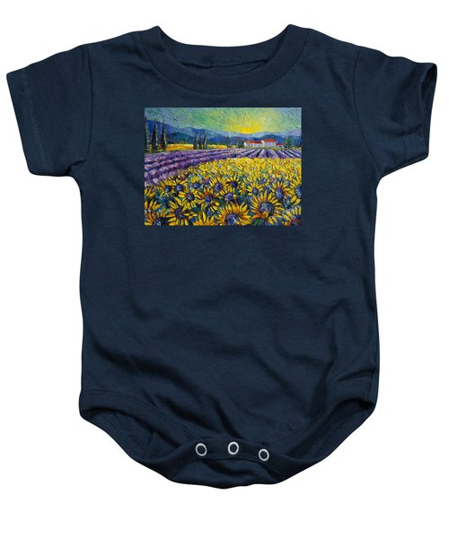 Sunflowers And Lavender Field - The Colors Of Provence Modern Impressionist Palette Knife Painting Baby Onesie