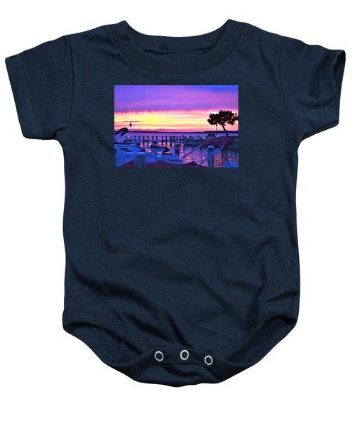 Sunset On The Docks Baby Onesie