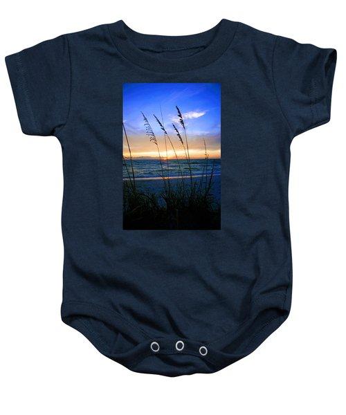 Sunset Thru The Sea Oats At Delnor Wiggins Baby Onesie