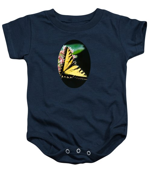 Swallowtail Butterfly And Milkweed Flowers Baby Onesie by Christina Rollo