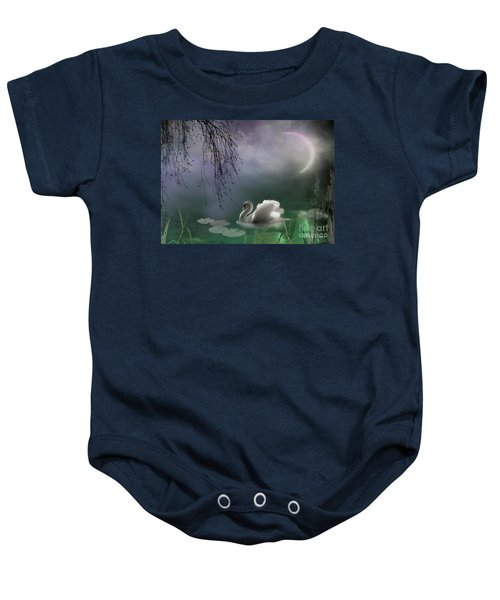 Baby Onesie featuring the mixed media Swan By Moonlight by Morag Bates