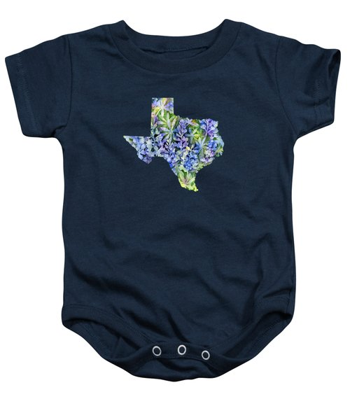 Texas Blue Texas Map On White Baby Onesie by Hailey E Herrera