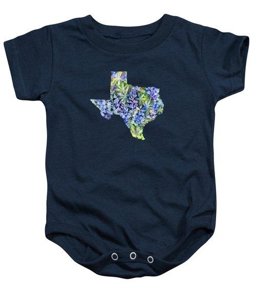 Texas Blue Texas Map On White Baby Onesie by Hailey E Herrera