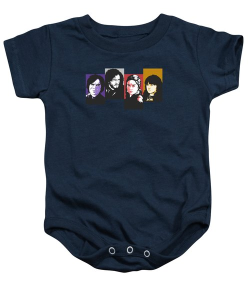 The Game Of Thrones My Favourite Characters 80s Style Jon Snow Khaleesi Tyrion Lannister Bran Stark Baby Onesie by Paul Telling