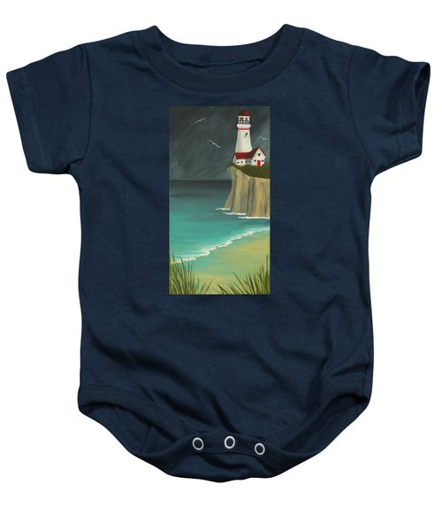 The Lighthouse On The Cliff Baby Onesie