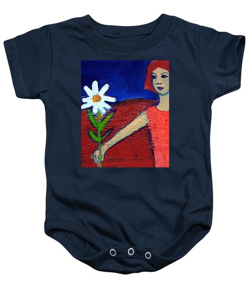 Baby Onesie featuring the painting The White Flower by Winsome Gunning