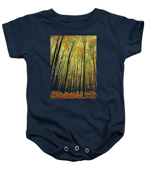 Baby Onesie featuring the photograph The Woods In The North by Michelle Calkins