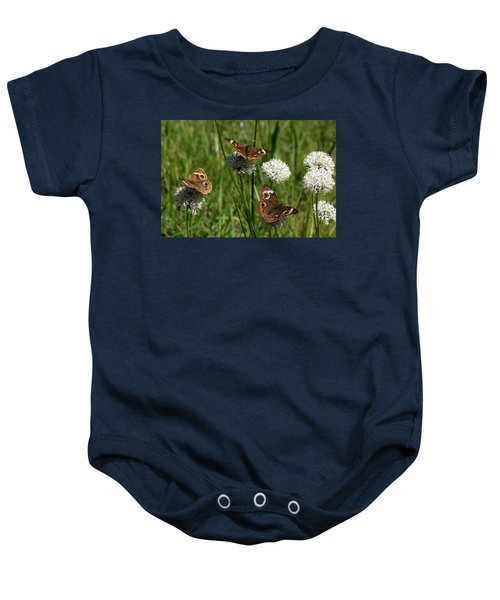 Three Buckeye Butterflies On Wildflowers Baby Onesie