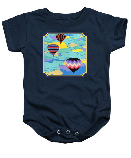 Three Hot Air Balloons Arial Absract Landscape - Square Format Baby Onesie