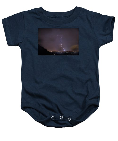 Baby Onesie featuring the photograph It's A Hit Transformer Lightning Strike by James BO Insogna