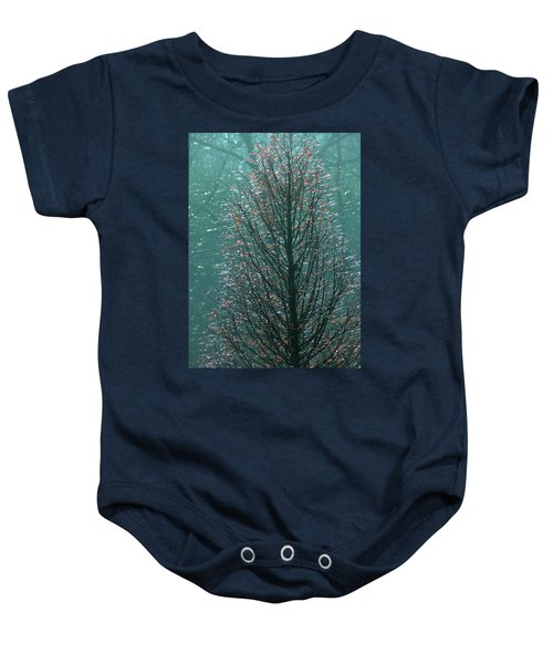 Tree In Autumn, With Red Leaves, Blue Background, Sunny Day Baby Onesie
