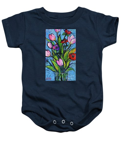 Tulips And Poppies - Impasto Palette Knife Oil Painting Baby Onesie