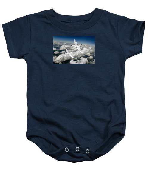 Baby Onesie featuring the photograph Two Avro Vulcan B1 Nuclear Bombers by Gary Eason