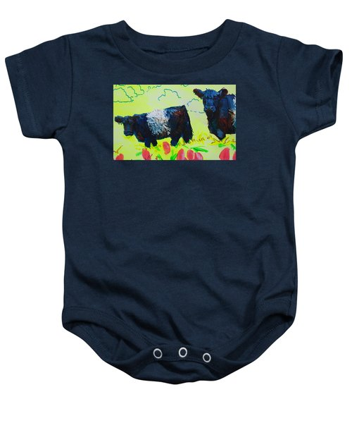 Two Belted Galloway Cows Looking At You Baby Onesie