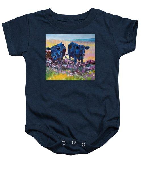 Two Black Cows On Dartmoor Baby Onesie