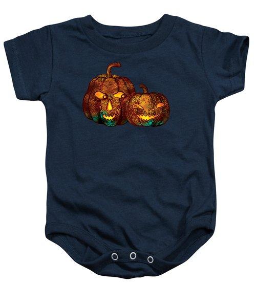 Two Jack O Lanterns Baby Onesie