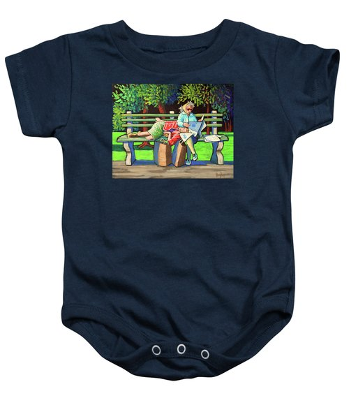 Two Ladies On Bench Baby Onesie