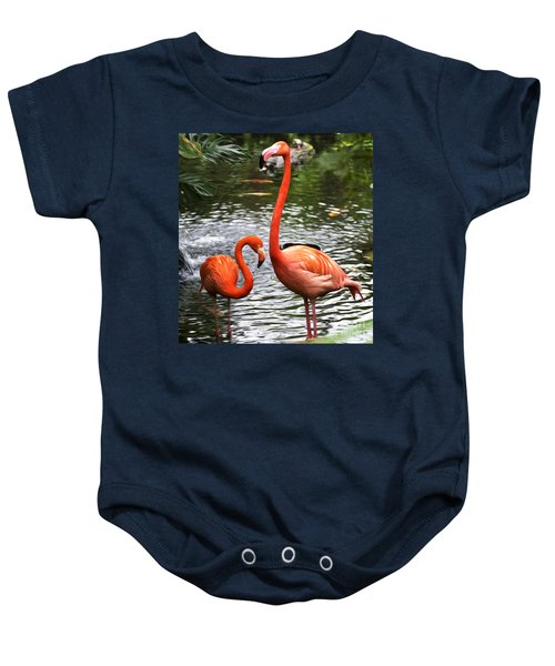Two Pink Flamingo's Baby Onesie