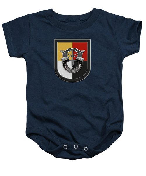 U. S.  Army 3rd Special Forces Group - 3  S F G  Beret Flash Over Green Beret Felt Baby Onesie