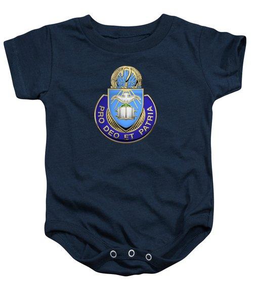 U. S. Army Chaplain Corps - Regimental Insignia Over Blue Velvet Baby Onesie
