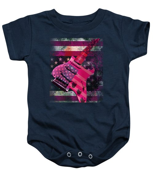 Baby Onesie featuring the photograph Usa Pink Strat Guitar Music by Guitar Wacky