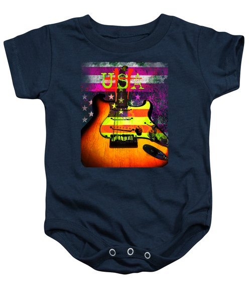 Baby Onesie featuring the photograph Usa Strat Guitar Music by Guitar Wacky