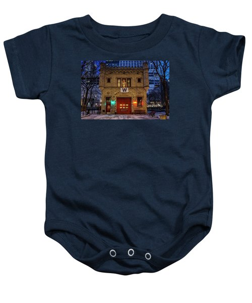 Vintage Chicago Firehouse With Xmas Lights And W Flag Baby Onesie
