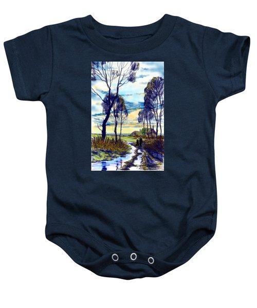 Walk On A Wet Road Baby Onesie