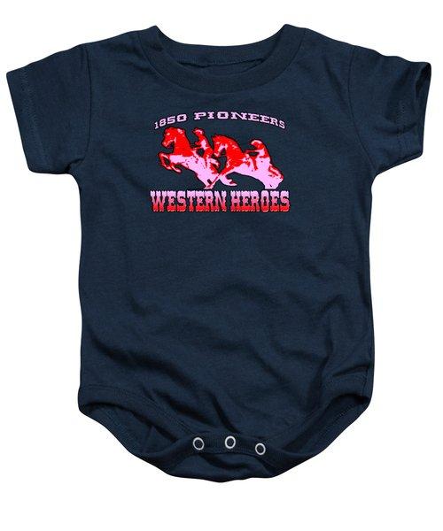 Western Heroes 1850 Pioneers - Tshirt Design Baby Onesie