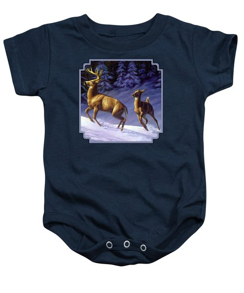 Whitetail Deer Painting - Startled Baby Onesie by Crista Forest