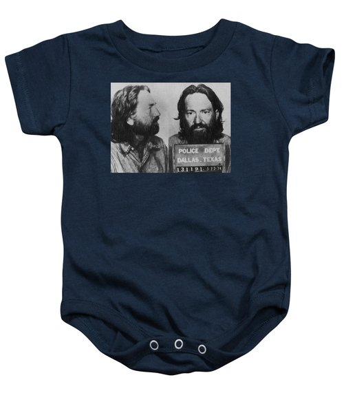 Willie Nelson Mug Shot Horizontal Black And White Baby Onesie