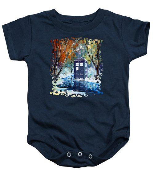 Winter Blue Phone Box Baby Onesie