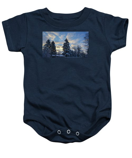 Winter Dawn Over Spruce Trees Baby Onesie