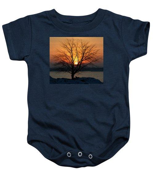 Winter Tree Sunrise Baby Onesie